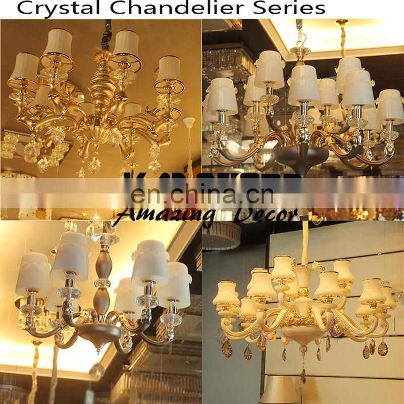 shining gold holder chandelier crystal high finishing chandelier with white lamp