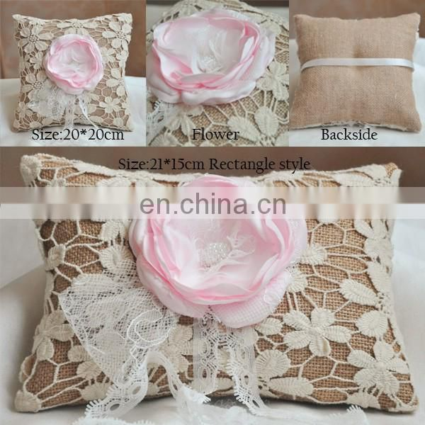 Rustic Chic Romantic Blush Flower Burlap Wedding Ring Pillow for Party Shower