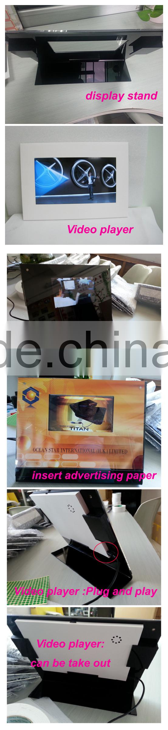"7"" LCD video player with acrylic dispaly stand can change the advertising picture in retail store"