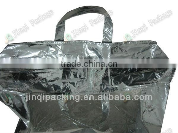 clear PVC bag with zipper, handle and silver composite non-woven