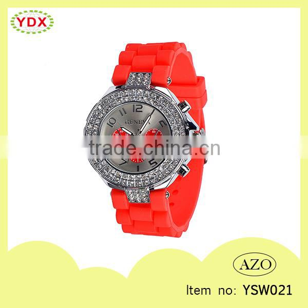 Top selling cheap lovely silicone stone watch ladies silicone watches