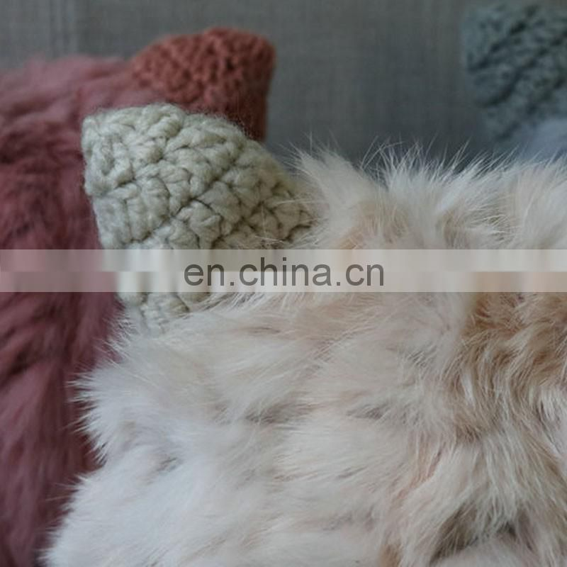 Purity genuine rabbit fur hats with ear cute fur hats for lady winter