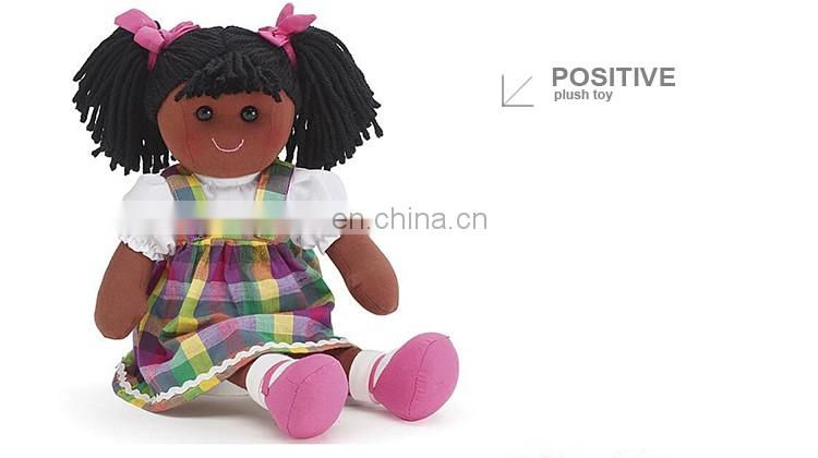 Custom plush stuffed human black girl rag doll toy