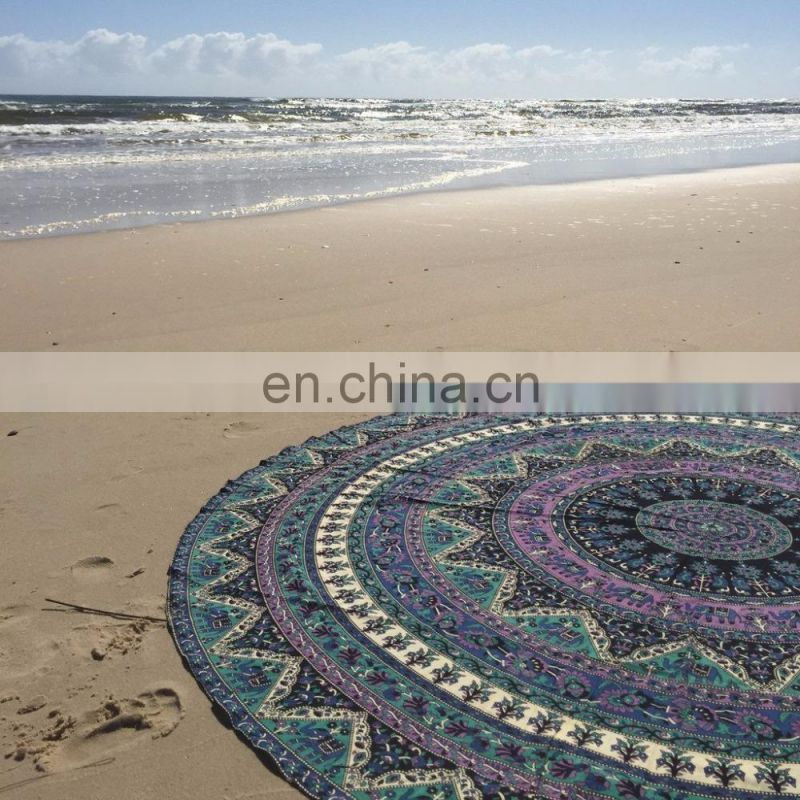 Hand Printed Round Table Cover #Mandala Table Cover Table Cloth
