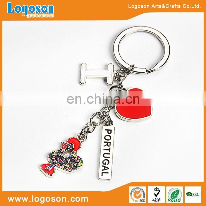 Custom shiny silver finishing souvenir keyrings Belarus keychain