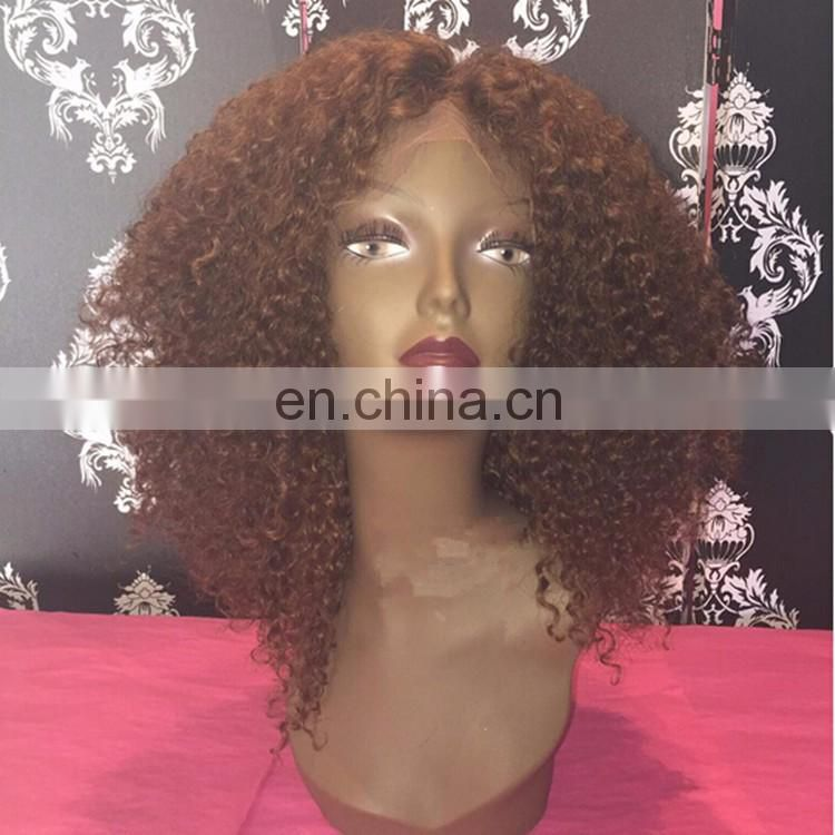 Afro Curly Human Hair Front Lace Wigs #30 Color Blonde Virign Brazilian Hair 7A Grade WIgs With Baby Hair For Black Women