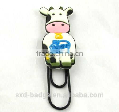 3D soft PVC bookmark and paper clip with various design for promotion