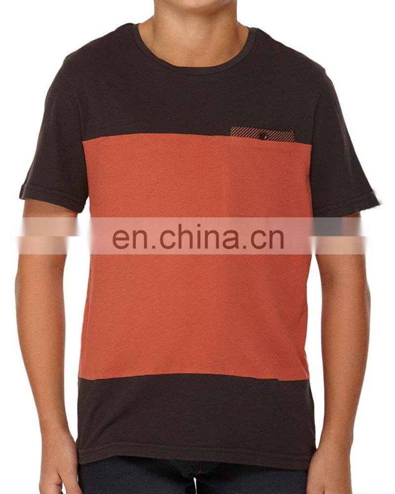 black red boys short sleeve cotton t-shirt O-neck wholesale t shirts with check pocket 2015