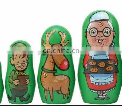 Russian christmas wooden painted nesting dolls