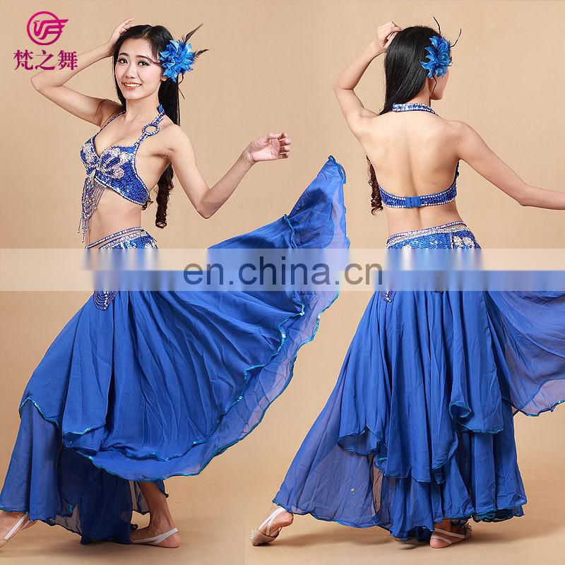 Arab Hot sale beaded tassel belly dance costumes 3pcs including bra and belt and skirt set