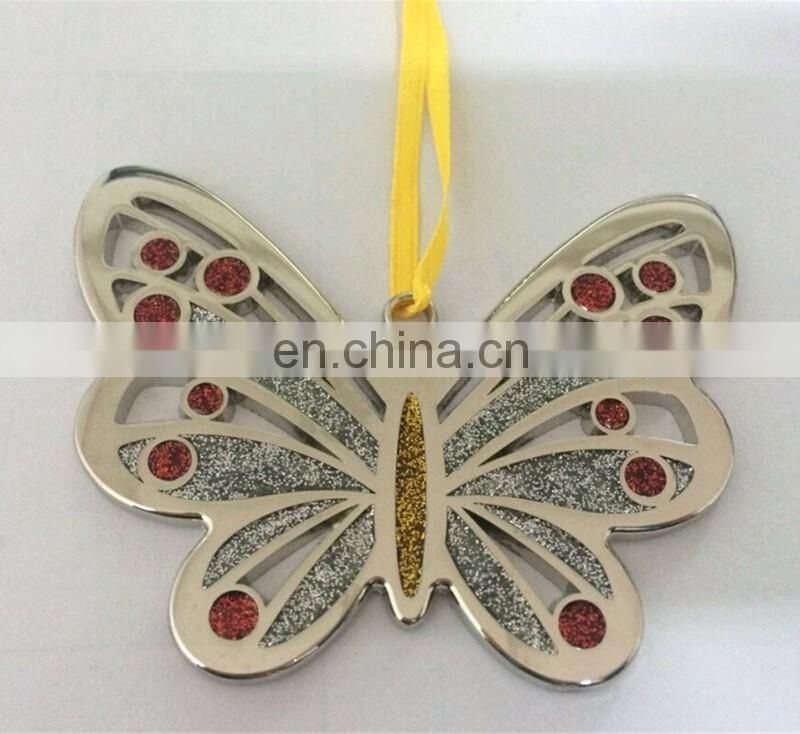 metal butterfly with diamond personalized christmas ornaments
