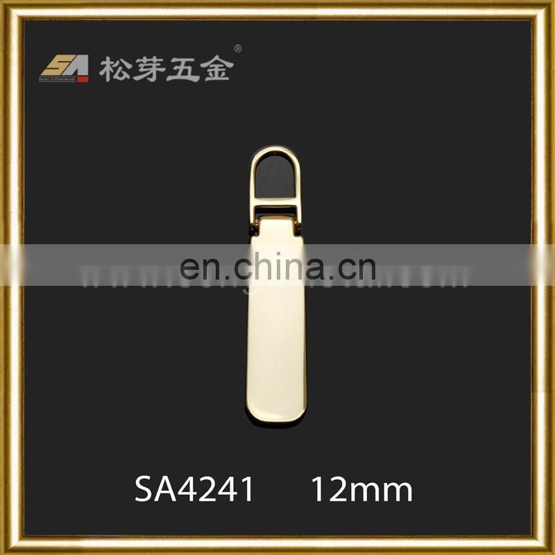 Gold Plated Zipper Pull, Customized Zinc Alloy Puller, Glossy Finished Zipper Pull Tabs