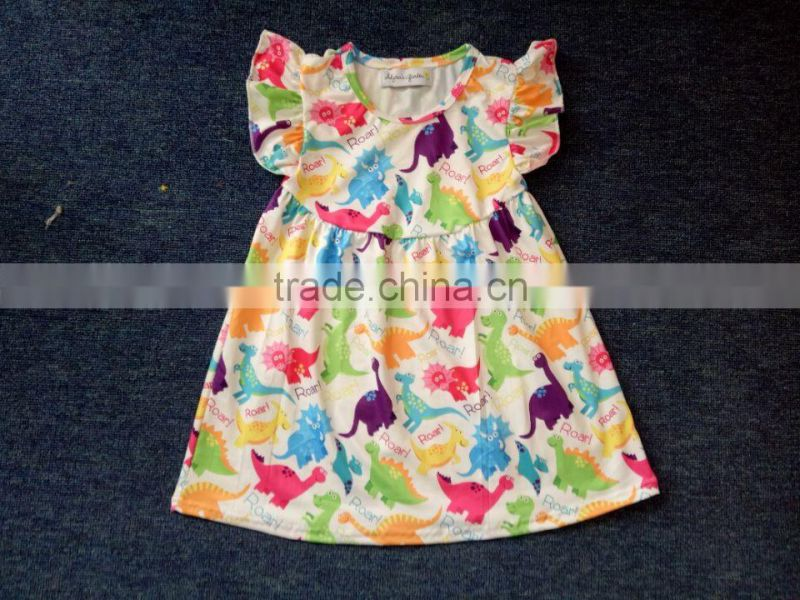 Latest Design Baby Girls Long Sleeve Boutique Dress Spring Autumn Ruffle floral Dress Smocked Clothing Wholesale