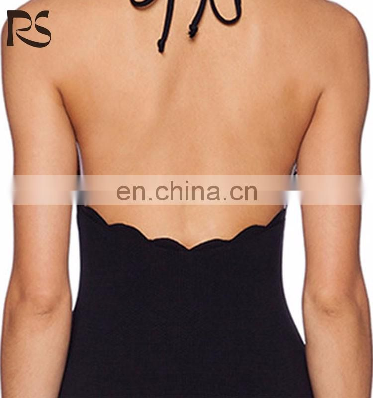 Chic Solid Color Backless Scalloped Trim One Piece Swimsuit