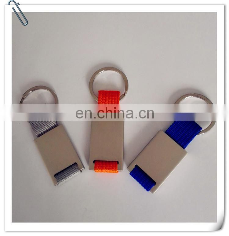 nylon fabric band stainless steel keychain tag