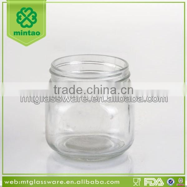 Clear mini embossed glass mason jar with color lid