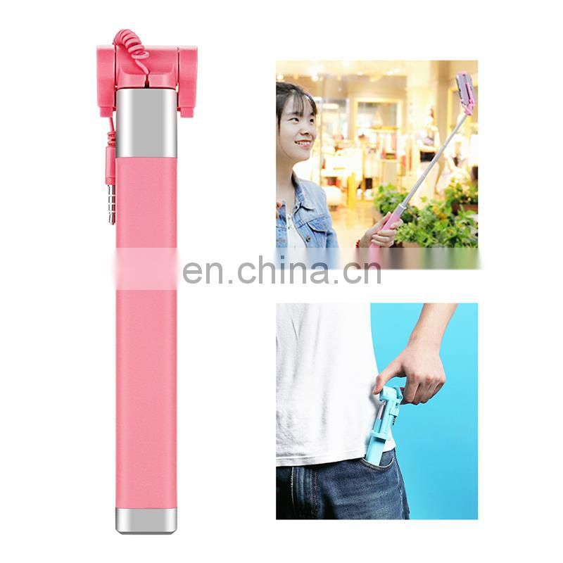 2017 Foldable mini selfie stick ,wired mini selfie stick