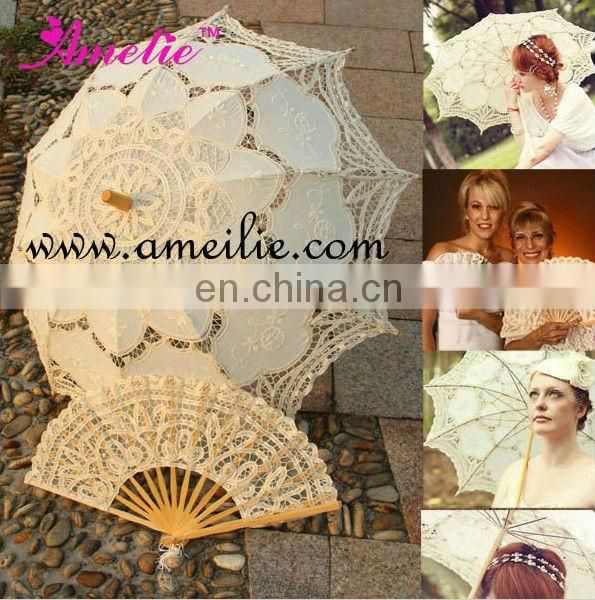 A-Fan074(27cm) New Design Wholesale Lace Wedding Decoration Hand Lace Fan for wedding