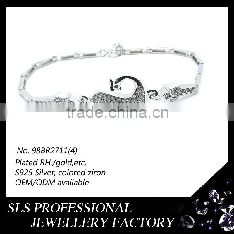 Antique silver bracelet horse designs for kids jewelry gifts bracelets chain light weight rhodium plated for boys bracelets 2013