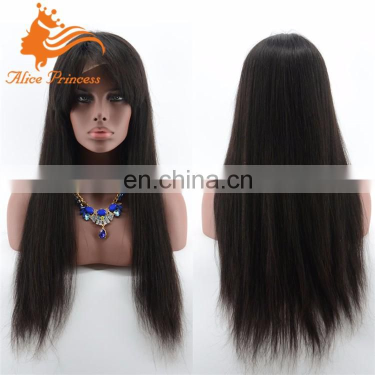 200denisty straight human hair full lace wig braided with blunt bangs