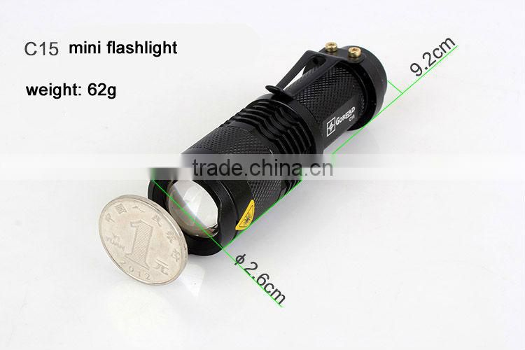 GOREAD C15 flashlight rechargeable Mini LED Flashlight Torch Adjustable Focus Zoom Light Lamp Black