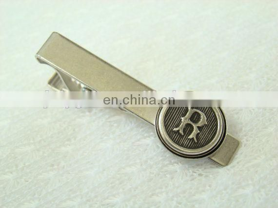 Different letter design tie bar with gold/silver/nickel plated