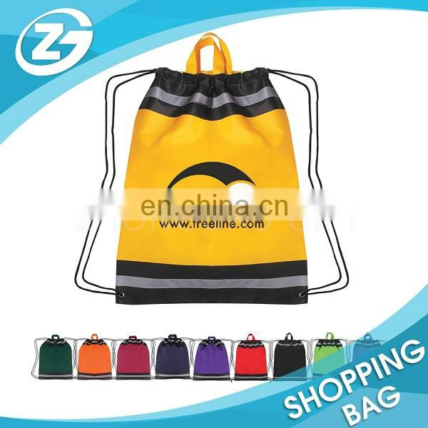 Reflective Patches Sewed Nonwoven Children's Shoulders String Backpack Of Environmental Protection Drawstring Bag