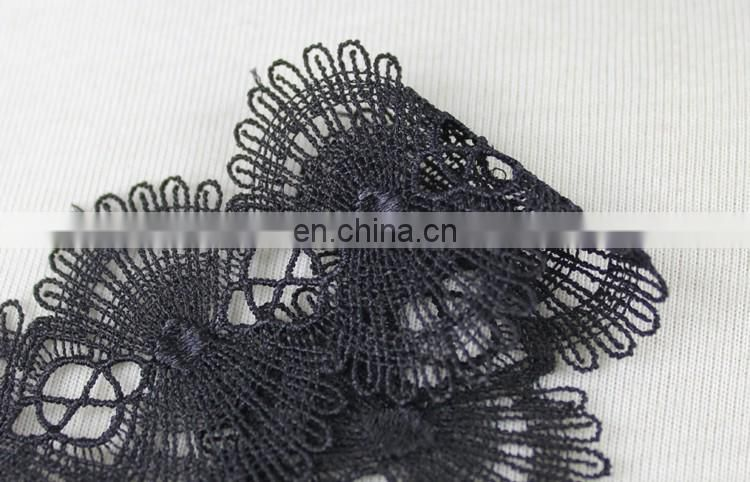 New design black shiny polyester chemical lace trim
