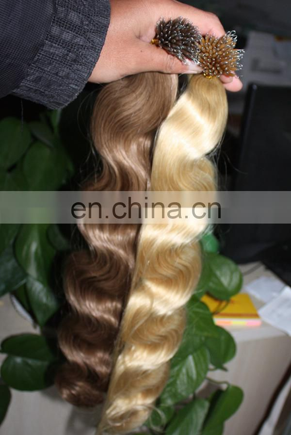 Thick end double drawn russian nano ring wholesale hair extension