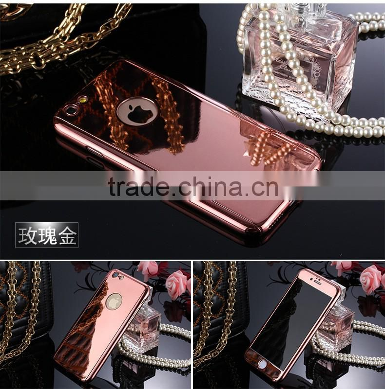 Mobile phone accessories high quality plastic mirror mobile phone case with screen protector for iphone 6 plus