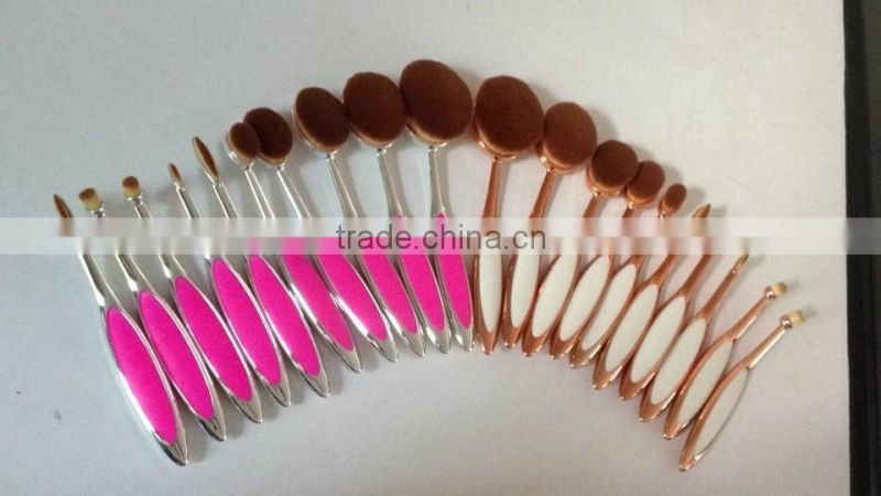 New Arrival Tooth Brush Style Makeup brush set/Oval BB Cream Foundation Brushes Rose Pink