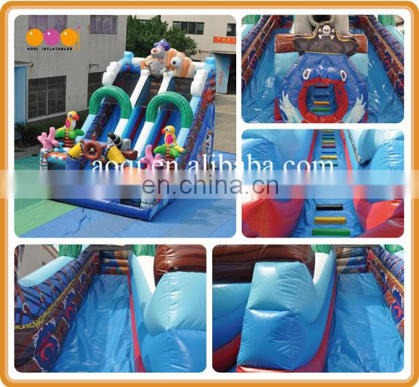 2017 newest style play ground equipment pirate inflatable slide playground toy for sale