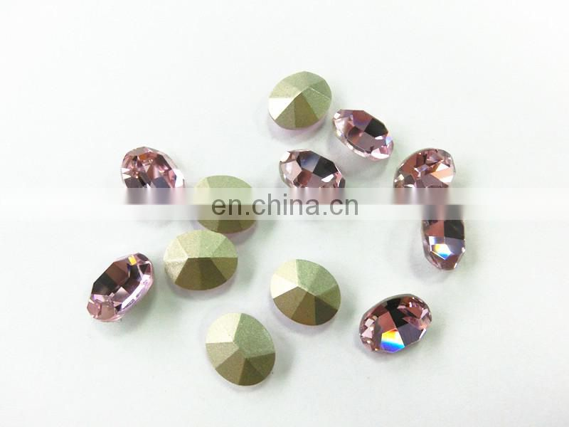 Silver Base Point Back Rose Crystal Stone Oval Shape