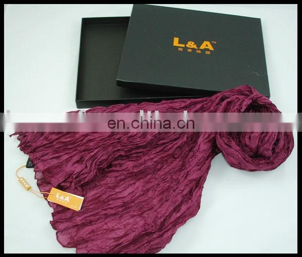 plain purple real silk scarf