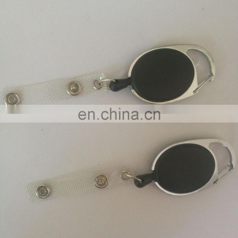 retractable carabiner keychain for promotion in white color
