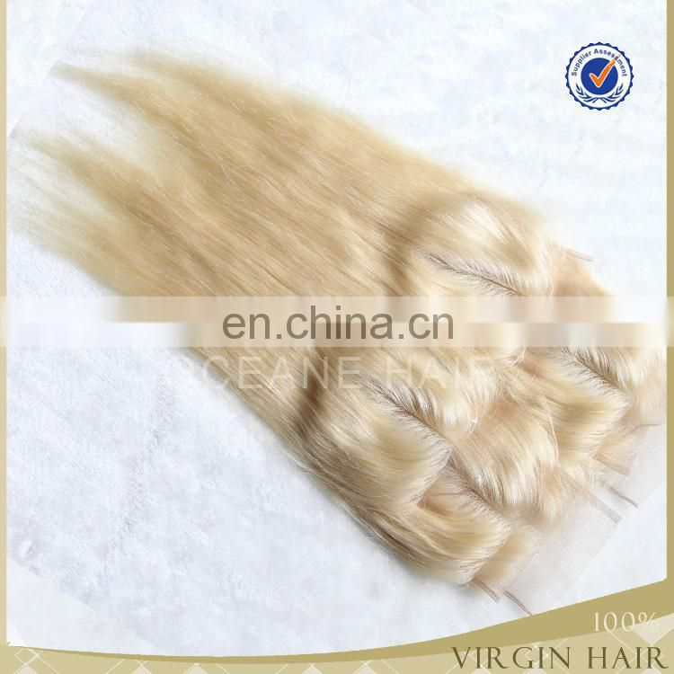 HOT top grade 613 blonde hair color 2Part Virgin Brazillian Hair lace frontal closure Piece 4*4 ear to ear lace closures