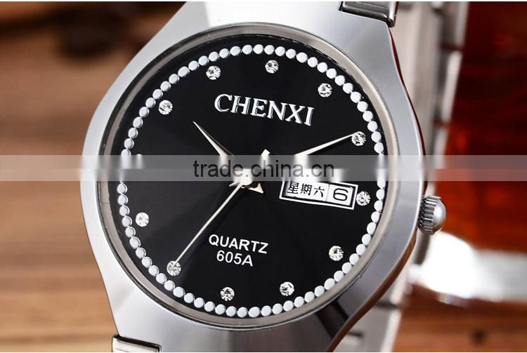 Birthday Surprise Gift CE RoHS Day/Date Couple Lover Wrist Watch Water Resistant Stainless Steel Wrist Watches
