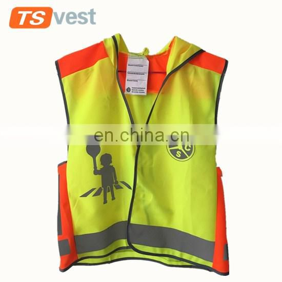 Custom traffic protection road way wearing safety kid vest for children