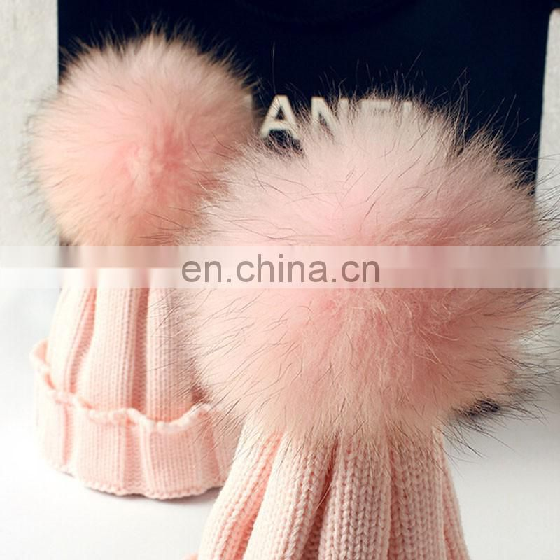 Matching color raccoon fur pompom/pompon hats wholesale winter hats