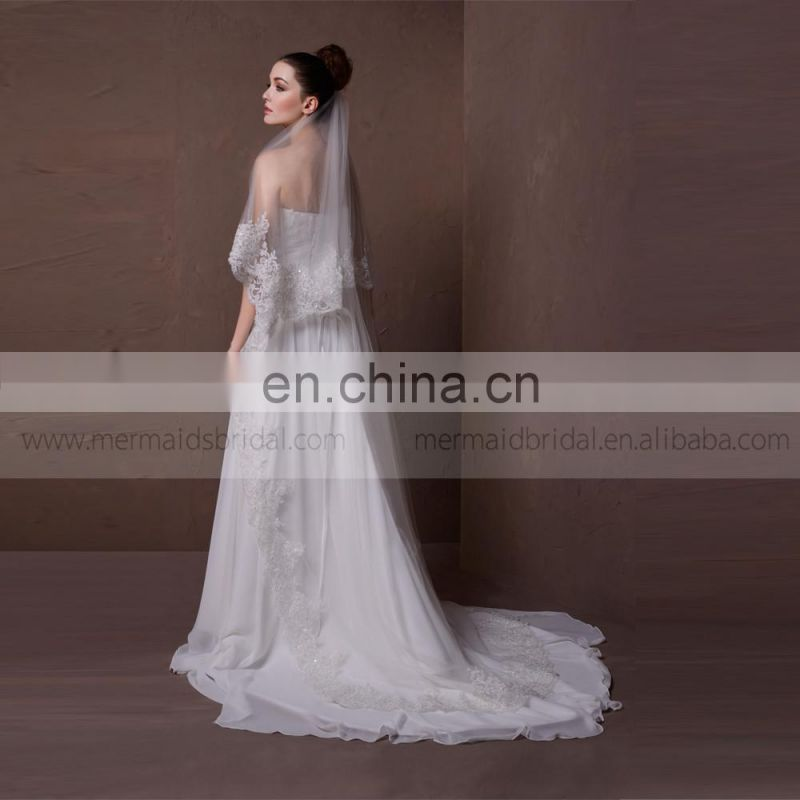 Sightly heart line lace and beads chiffon beach wedding dress