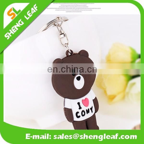 OEM shaped custom soft pvc rubber keychains for sale