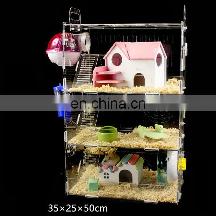 High quality luxury hamster cage animals transparent clear view larger plastic house acrylic cheap pet hamster cage