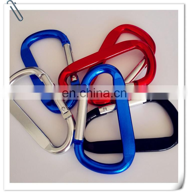 high qualiy Custom metal multi color D-shaped aluminum carabiner for promotion keychain