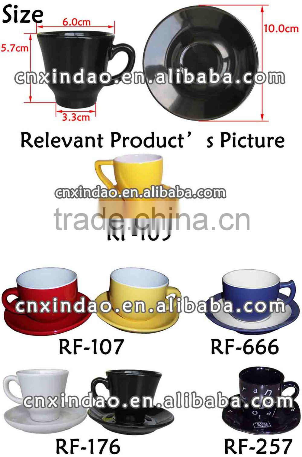 Hot Sale New Style Mini Promotion Wholesale Colored Ceramic Modern Coffee Cup and Saucer