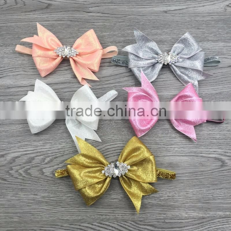 Wholesale sequins hair bow elastic baby headband girls accessories