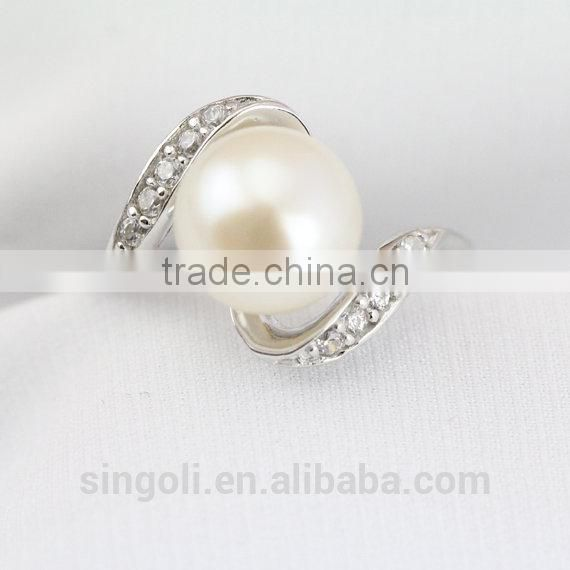 Pearl promise ring engagement crystal rings for women