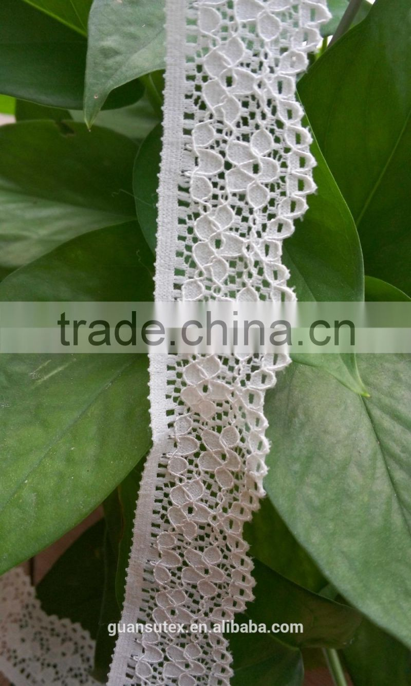 Best Price African French George White Lace Trimming, Polyester Elastic Fashion Trim Lace For Dresses