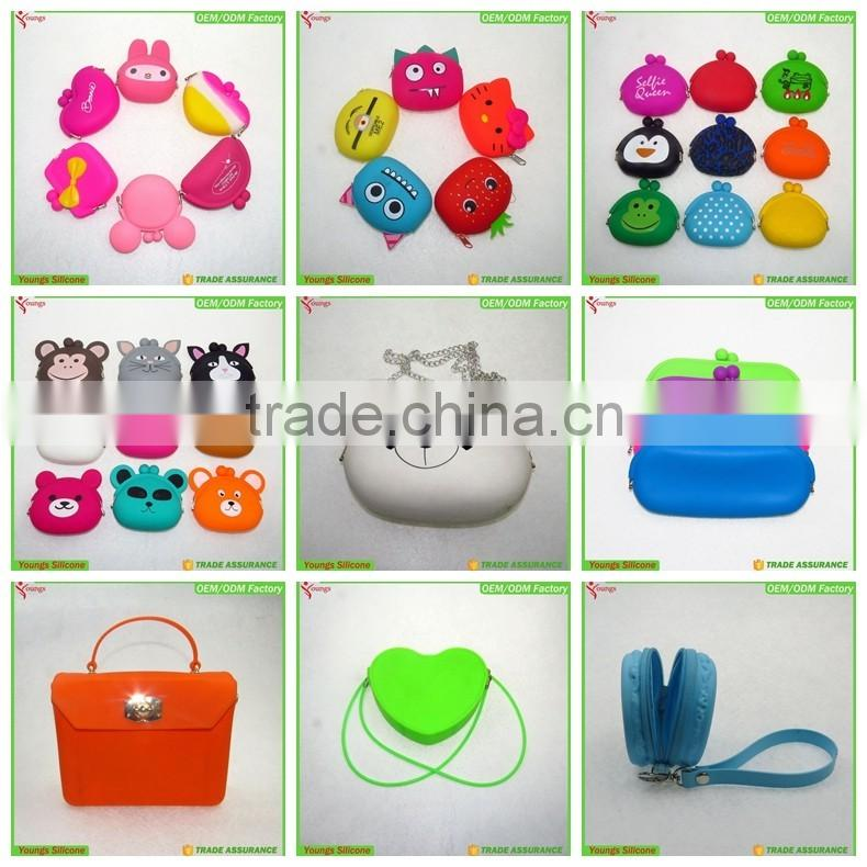 2016 eco-friendly kids wallet baby zipper bag Children wallets women silicone coin purse animal toys key pouch