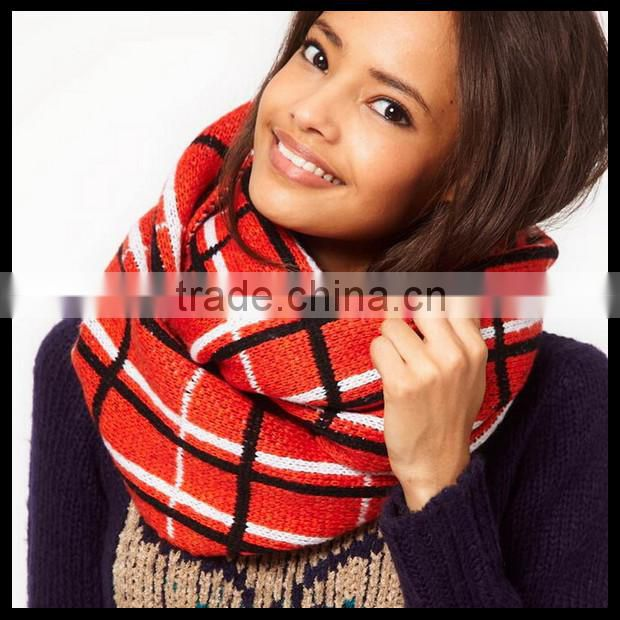 Winter red and blue checker work infinity scarf soft and cute for friend gift at stock