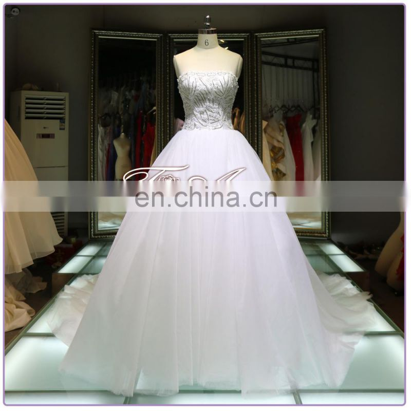 1A335 Luxury Rheinstond Beaded Strapless Ball Gown A-Line Wedding Dresss 2016
